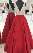 A Line Sparkly Sequins Red Long Prom Dress Satin Evening Dress  JTA9331