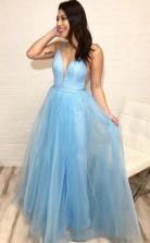 Spaghetti Strap V Neck Sky Blue Prom Dress with Tiny Dot Print  JTA9351
