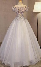 Off the Shoulder Ball Gown Prom Dress Long Princess Cute Quinceanera Dress  JTA9401