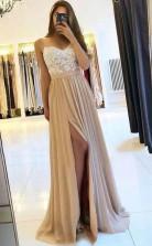 Spaghetti Straps Chiffon Appliques Prom Dress With Side Split  JTA9411