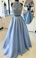 Two Piece Light Blue Lace Prom Dress High Neck Evening Gowns JTA9441