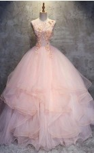 Ball Gown Floor Length Sleeveless Layers Tulle Ruffles Floral Prom Dress JTA9461