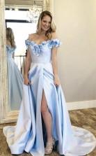 Blue Satin Off The Shoulder Appliques Long Prom Dress With Side Split  JTA9481