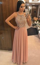 A Line Pink Chiffon Halter Backless Prom Evening Dress With Beading JTA9491