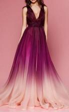 Maroon Ombre Prom Dress V Neck Cheap Long Formal Dress for Women JTA9501