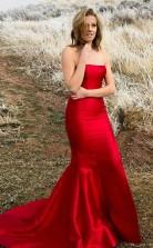 Mermaid Strapless Sweep Train Red Satin Sleeveless Split Pleats Prom Dress  JTA9511