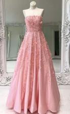 Strapless Beaded Appliqued Pink  Satin Long Prom Dress Formal Dress   JTA9561