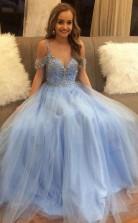 Off the Shoulder Sky Blue Beaded Tulle Prom Dress Long Formal Dress  JTA9631