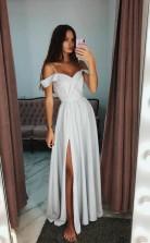 A Line Off The Shoulder Grey Long Prom Evening Dress With Side Split   JTA9651