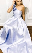 A Line Blue Satin One Shoulder Flower Long Prom Dress Formal Dress   JTA9671