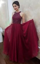 A Line Long Chiffon Formal Evening Halter Beaded Cheap Prom Dress   JTA9681