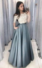 A Line Two Piece Off the Shoulder Half Sleeves Prom Dress With Lace Top  JTA9691