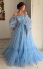 Sky Blue Tulle Off the Shoulder Long Prom Dress Elegant Evening Dress  JTA9711