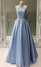 Sky Blue Simple Satin Long Prom Dress Pearl Skirt Prom Dress with Pocket JTA9751