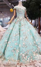 New Style Off The Shoulder Tulle Ball Gown Prom Dress With Lace Applique   JTA9821