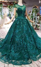 New Style Cap Sleeves Tulle Ball Gown Prom Dress With Lace Applique  JTA9841