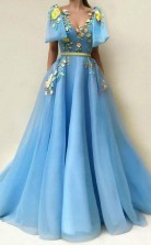 A Line Blue Tulle Floor-length Embroidery Prom Dress With Pockets  JTA9851