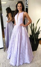 A Line Round Neck Floor-Length Lilac Printed Prom Evening Dress  JTA9861