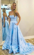 A Line Sweetheart Sky Blue 3D Floral Applique Long Prom Dress With Pocket JTA9881