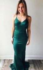 Mermaid Spaghetti Straps Criss Cross Hunter Prom Evening Dress JTA9941