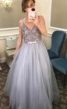 A Line V Neck Beading Floor Length Grey Prom Formal Dress JTA9951