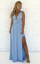 A Line V Neck Criss-Cross Straps Sky Blue Chiffon Prom Dress with Split  JTA9971