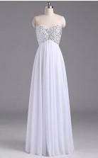 Sweetheart Chiffon Backless Long White Evening Prom Dress  JTB2051