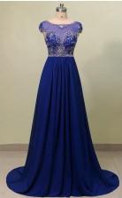 Scoop Court Train Chiffon Blue Prom Dress With Beading JTB2071