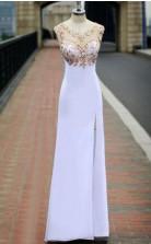 A Line Spaghetti Straps Yellow Split Long Prom Dress With Lace Appliques JTB2111