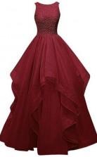 Elegant Mermaid Halter Neck Burgundy Lace Prom Formal Dress  JTB2181