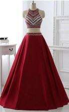 Sparkly V Neck Straps A Line Long Prom Formal Dress JTB2201