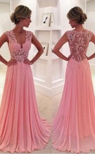 A Line V Neck  Straps High Split Long Prom Dress With Pockets JTB2391