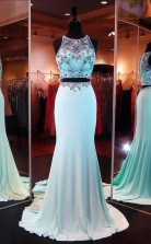 Two Piece Mermaid Blue Prom Formal Dress With Beading JTB2891