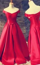 Off Shoulder Floor Length Satin Red Prom Evening Dress With Belt JTB3001