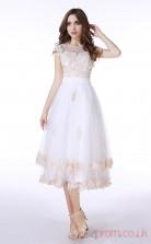Salmon Tulle Lace A-line Illusion Long Sleeve Prom Dresses(JT4-LFDZC002)