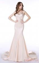Blushing Pink Charmeuse Trumpet/Mermaid Straps Short Sleeve Evening Dresses(JT4-LFDZC003)