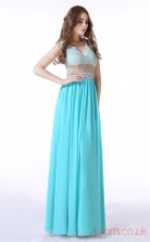 Deep Sky Blue Satin Chiffon Tulle A-line V-neck Sleeveless Evening Dresses(JT4-LFDZC005)