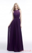 Grape Lace Chiffon A-line Bateau Sleeveless Evening Dresses(JT4-LFDZC008)