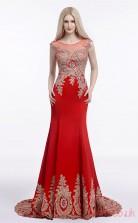 Red Satin Trumpet/Mermaid Illusion Scoop Short Sleeve Prom Dresses(JT4-LFDZC0013)