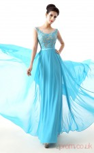 Deep Sky Blue Lace Chiffon A-line Illusion Scoop Sleeveless Evening Dresses(JT4-LFDZC0018)