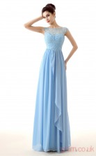 Sky Blue Lace Chiffon A-line Bateau Short Sleeve Evening Dresses(JT4-LFDZC0019)