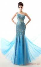 Dodger Blue Tulle Lace Trumpet/Mermaid One Shoulder Sleeveless Prom Dresses(JT4-LFDZC0020)