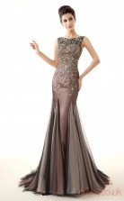Dim Grey Tulle Trumpet/Mermaid Bateau Sleeveless Prom Dresses(JT4-LFDZC0021)
