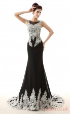 Black Tulle Lace Trumpet/Mermaid Bateau Sleeveless Evening Dresses(JT4-LFDZC0024)