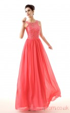 Watermelon Lace Chiffon A-line Jewel Sleeveless Evening Dresses(JT4-LFDZC0028)
