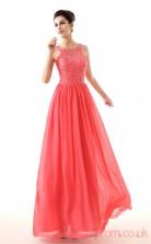 Watermelon Lace Chiffon A-line Jewel Sleeveless Evening Dresses(JT4-LFDZC0028)