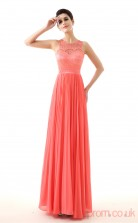 Watermelon Lace Chiffon A-line Jewel Sleeveless Evening Dresses(JT4-LFDZC0029)