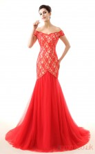 Red Lace Tulle Trumpet/Mermaid Off The Shoulder Short Sleeve Evening Dresses(JT4-LFDZC0031)
