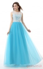 Deep Sky Blue Lace Tulle A-line Scoop Sleeveless Evening Dresses(JT4-LFDZC0033)