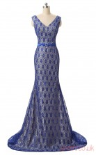Blue Lace Trumpet/Mermaid V-neck Sleeveless Evening Dresses(JT4-LFDZC112)